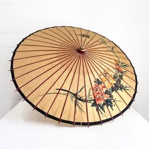 Vintage Paper Parasol Umbrella Yellow Floral Boho